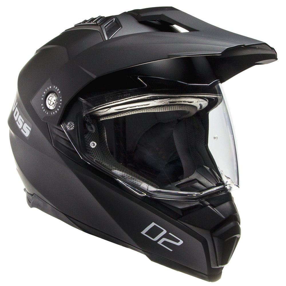 Voss 601 D2 Dual Sport Helmet with Integrated Sun Lens and Ratchet Quick Release System