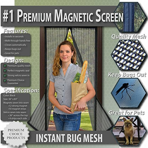 Premium Magnetic Screen Door - KEEP BUGS OUT, Let Fresh Air In. Instant Mosquito, Insect and Fly Screen with Magic Magnetic Closure. Retractable Mesh Door Screen. (Fits Doors UP TO 34' x 82')