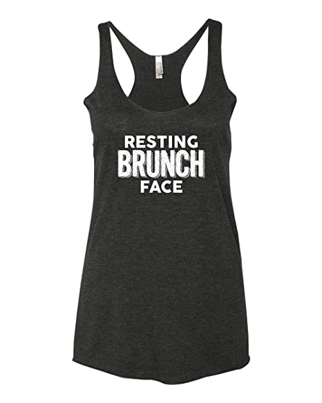 Panoware Women's Funny Workout Racerback Tank Top | Resting Brunch Face, Vintage Black, X-Large