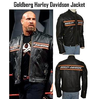 Goldberg Wwe Harley Motorcycle Screaming Eagle Black Hd Cow Leather Jacket Small