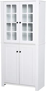 Amazon Com Homcom Freestanding Kitchen Pantry Storage With 2 Large Cabinets 4 Shelves Framed Glass Doors And Anti Topple White Furniture Decor