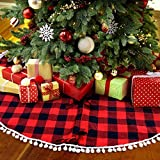 PartyTalk 48 Inch Christmas Tree Skirt Red and Black Buffalo Plaid Tree Skirt with Pom Pom Trim for Holiday Christmas Decorations, Double Layers Xmas Tree Skirt