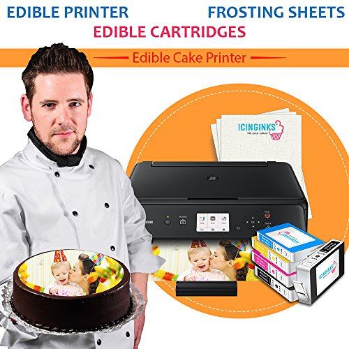 Wirless Canon Edible Printer Bundle Icinginks Photo Cake Printer Includes Refillable Latest Edible Printer, Edible Cartridges, Icing Sheets Pack - 24 Sheets, Free Edible Designing