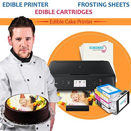 Wirless Canon Edible Printer Bundle Icinginks Photo Cake Printer Includes Refillable Latest Edible Printer, Edible Cartridges, Icing Sheets Pack - 24 Sheets, Free Edible Designing
