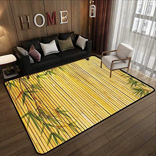 Office Floor mats,Bamboo House Decor Collection,Light Golden Bamboo Background with Tree Branches Exotic Plants Zen Peaceful Art,Green 71'x 81.5' Bath Mat Set Kitchen Door