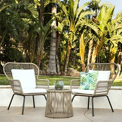 Best Choice Products 3-Piece Patio Wicker Conversation Bistro Set w/ 2 Chairs, Glass Top Side Table, Cushions – Tan