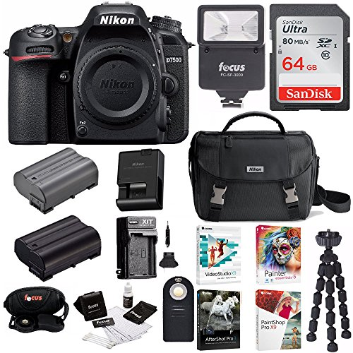 Nikon D7500 DSLR Camera Body + Nikon Bag + 64GB Memory Card + Flash + Battery and Charger + Software Suite + Kit
