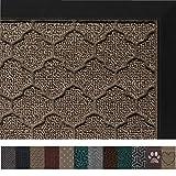 Gorilla Grip Original Durable Rubber Door Mat, 29 x 17, Heavy Duty Doormat, Indoor Outdoor, Waterproof, Easy Clean, Low-Profile Mats for Entry, Garage, Patio, High Traffic Areas, Beige Quatrefoil