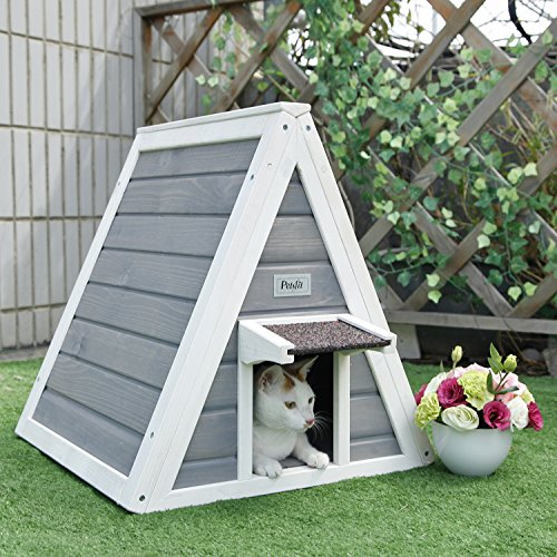Petsfit Triangle Wooden Cat House with Back Escape Door, 1-Year Warranty