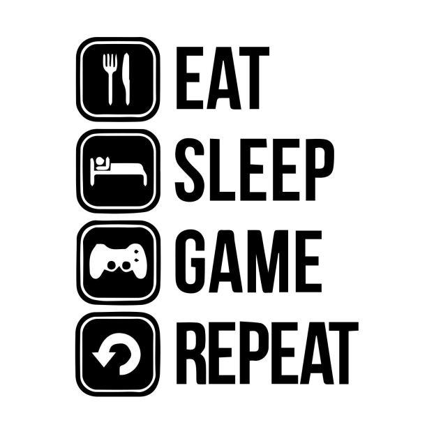 Amazon.com: Eat Sleep Game Repeat Wall Decal. Gamer Wall Decal ...