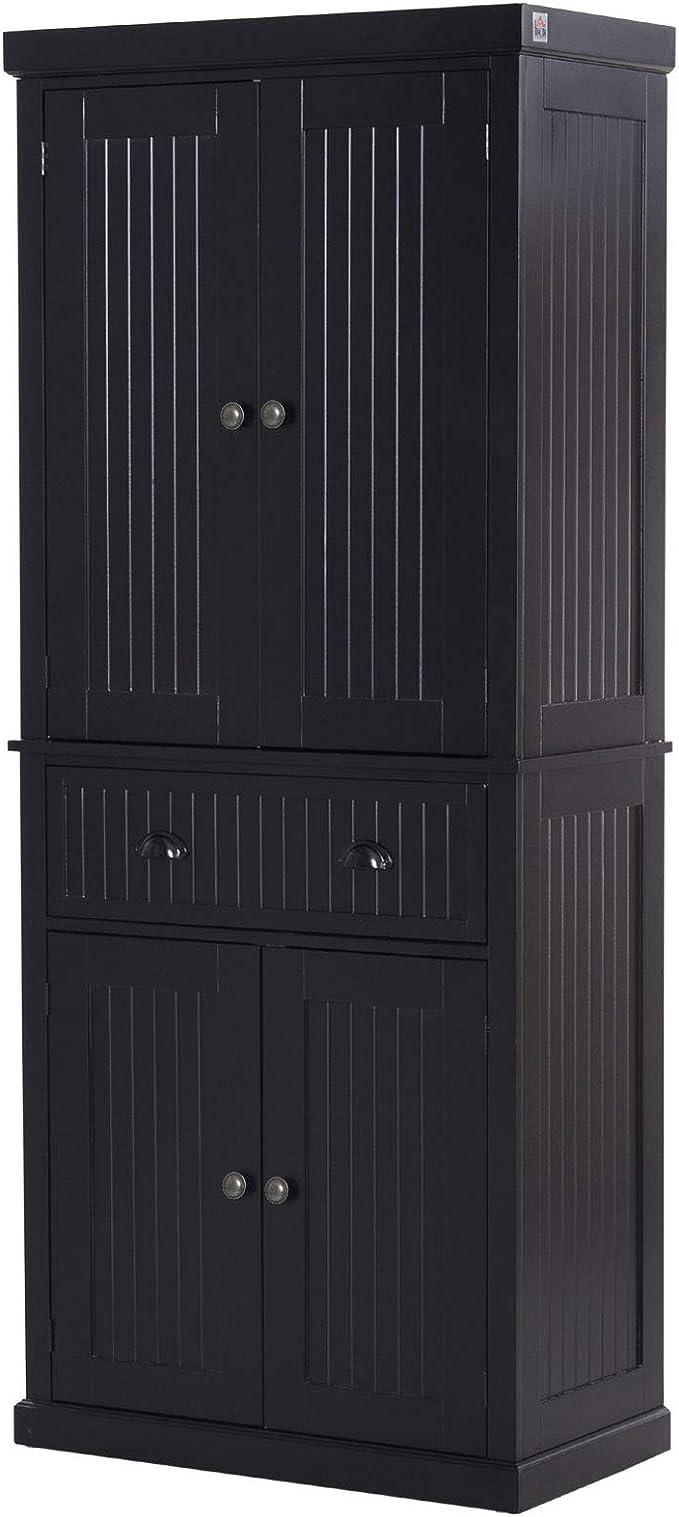 Homcom 72inch Wood Kitchen Pantry Cabinet Tall Storage Cupboard Food Organizer Shelf Home Furniture Black Amazon Ca Tools Home Improvement