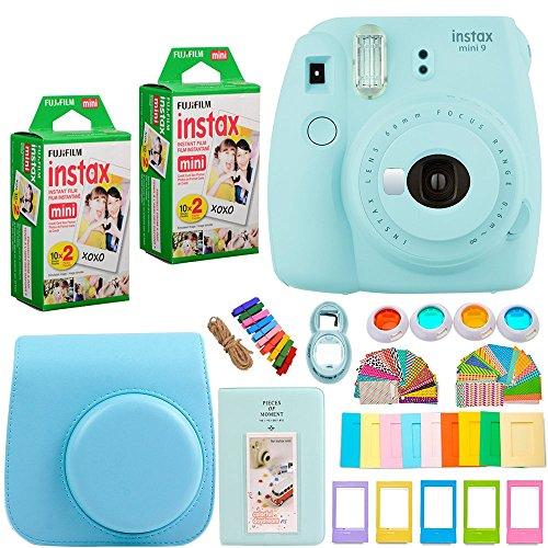 FujiFilm Instax Mini 9 Instant Camera ICE BLUE + INSTAX Mini Instant Film (40 Sheets) + Camera Case and 7 in 1 Colorful Accessory Bundle Kit