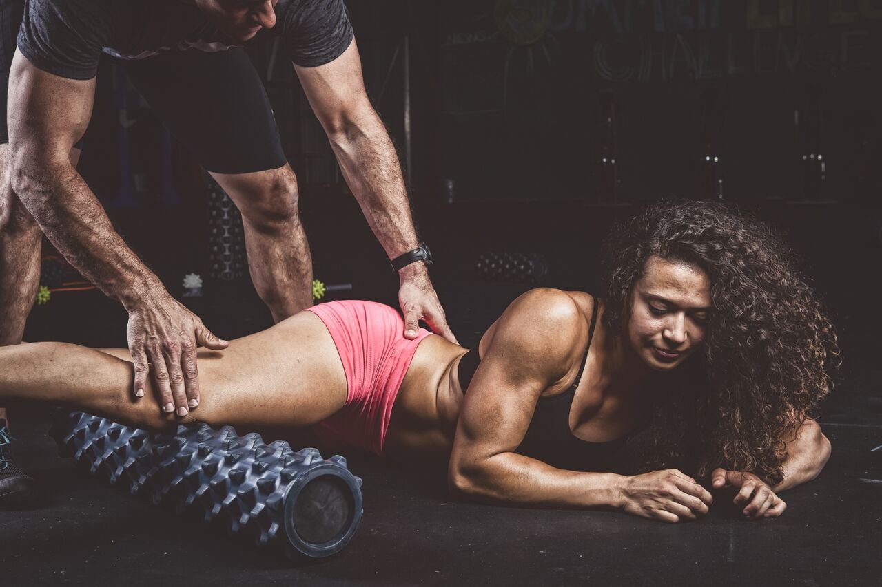 Exercising On RumbleRoller - Textured Muscle Foam Roller