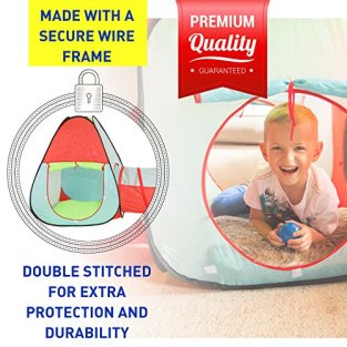 Kiddey-Childrens-Dual-Play-Tent-with-Tunnel-3-Piece-Set--IndoorOutdoor-Playhouse-for-Boys-and-Girls--Lightweight-Easy-to-Setup-Balls-Not-Included