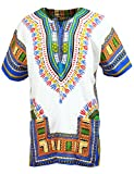 KlubKool - Dashiki Shirt Tribal African Caftan Boho Unisex Top Shirt (White/Light Blue,Medium)