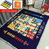 USTIDE Flying Airplane Carpet Flight Chess Family Game Toy Mats for Kids,Baby Soft Play Crawling Activity Safe Floor Mat Area Rug Cushion Blanket,4.8-6.4 Feet,Normal
