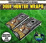 Corn Hole Wrap set! Deer Hunter logo over Camo 2x Decals (24' x 48') White Tail Buck Stag Deer Hunting logo graphics for cornhole baggo Bag Toss boards game