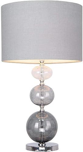 Modern Sava Smoke Ombre Three Ball Glass 53cm Table Lamp With Grey Linen Shade Bedside Light Amazon Co Uk Lighting