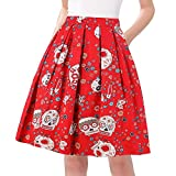 Taydey 50's Bubble Style Retro Pleated Skirt for Women Size M Red Flower