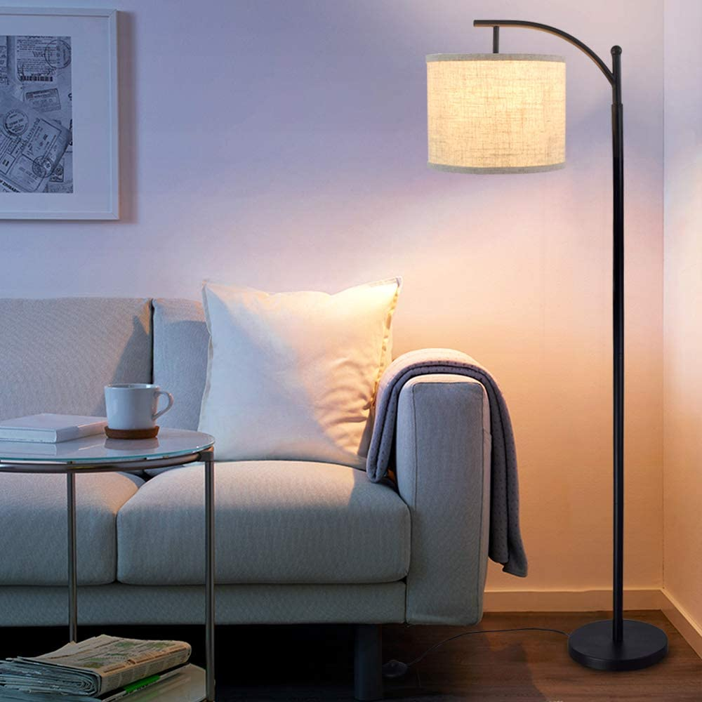 Amazon Com Dllt Bedroom Led Floor Lamp 8w Industrial Arc Floor Lamp With Hanging Lamp Shade Tall Standing Modern Floor Lamp Reading For Living Room Office Study Room Hotel With E26 Bulb Warm Home