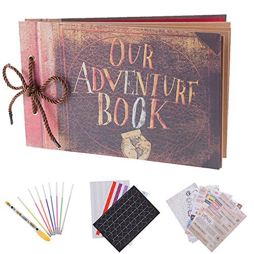 Our Adventure Book Pixar Up Handmade Diy Family Scrapbook Photo Album Expandable 11.6x7.5 Inches 80 Pages with Photo Album Storage Box DIY Accessories Kit