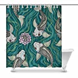 INTERESTPRINT Traditional Japanese Fancy Fish Bathroom Decor Shower Curtain Set with Hooks, 84 Inches Extra Long