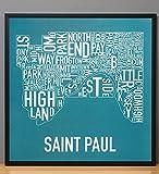 """Framed St. Paul Neighborhoods Map Art Poster, Teal & White, 20"""" x 20"""" in Black Frame"""