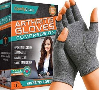 Comfy Brace Arthritis Hand Compression Gloves – Comfy Fit, Fingerless Design, Breathable & Moisture Wicking Fabric – Alleviate Rheumatoid Pains, Ease Muscle Tension, Relieve Carpal Tunnel Aches(Large)