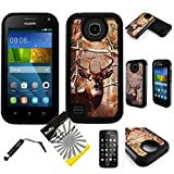 For Huawei Union Y538 ITUFFY (TM) 3items Combo: Screen Protector + Stylus Pen + Dual Layer Impact Resistance Hybrid Armor Case (Tree Deer Camouflage Black)