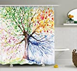 Ambesonne Four Seasons - Shower Curtain - Red Yellow Navy Brown - Water, Soap, and Mildew Resistant - Machine Washable - Shower Hooks are Included, Berry Green