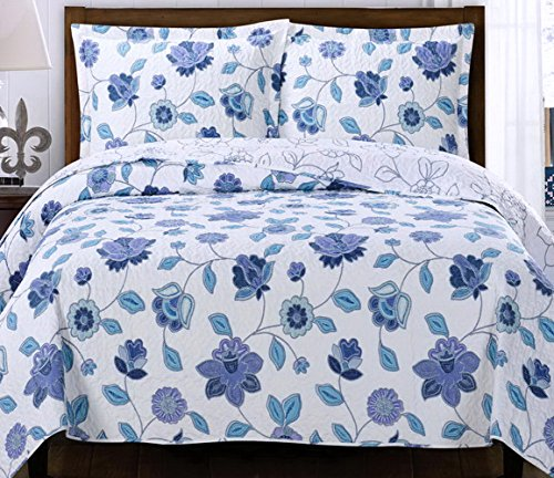 Purple Blue Lavender Bedding with Light Blue Walls: Country Cottage Coverlet Quilt Shams Set King/Cal King Purple Blue Lavender Floral Print Pattern Lightweight Hypoallergic Wrinkle Free Reversible 3 Piece Bedding Oversized