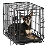 Dog Crate   MidWest iCrate XXS Folding Metal Dog Crate w/ Divider Panel, Floor Protecting Feet & Leak-Proof Dog Tray   18L x 12W x 14H Inches, Toy Dog Breed, Black