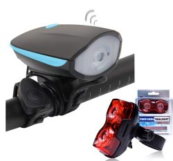 Bulfyss Combo of USB Rechargeable Bike Front Horn and Light 120 DB with Super Bright 250 Lumen Light and Raypal Dual LED Bicycle Rear Tail Light
