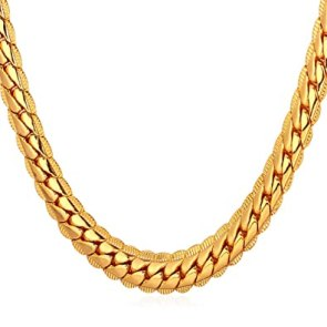"Image result for U7 18K Gold Plated Necklace With 18K Stamp Men Jewelry 4 Colors 6 MM - 9MM Wide Snake Chain Necklace,18""-32"""