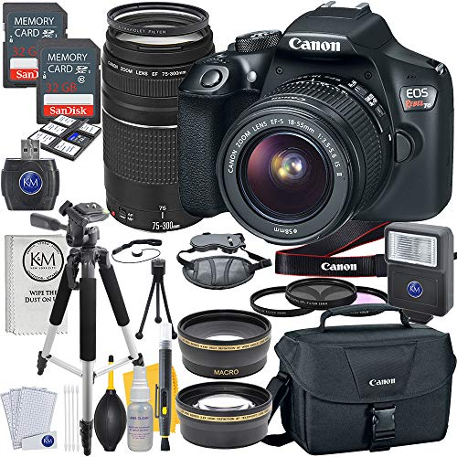 Canon EOS Rebel T6 DSLR Camera w/ EF-S 18-55mm Lens + EF 75-300mm Lens + 2 X 32 GB Memory + Premium Accessory Bundle