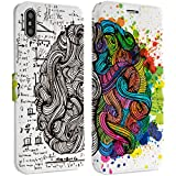 Wonder Wild Art Brain iPhone Wallet Case 10 X/Xs Xs Max Xr 7/8 Plus 6/6s Plus Card Holder Accessories Smart Flip Hard Design Protection Cover Texture Artist Watercolor Multicolored Science Notebook