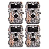"4-Pack Game Trail Deer Cameras 16MP 1080P for Hunting Wildlife No Glow Infrared Night Vision Time Lapse Motion Activated IP66 Waterproof & Password Protected, Photo & Video Model, 2.4"" LCD, Time Stamp"