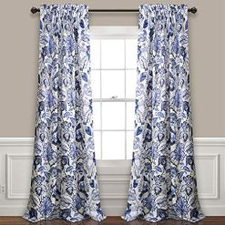 Blue Jacobean Floral Curtains