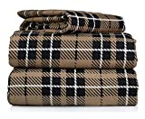 Piece 100% Soft Flannel Cotton Bed Sheet Set – King Size – Patterned Bedding Covers – 1 Flat Sheet, 1 Fitted Sheet, 2 Pillow Cases - Fade Resistant Designs, (Brown Plaid, king)
