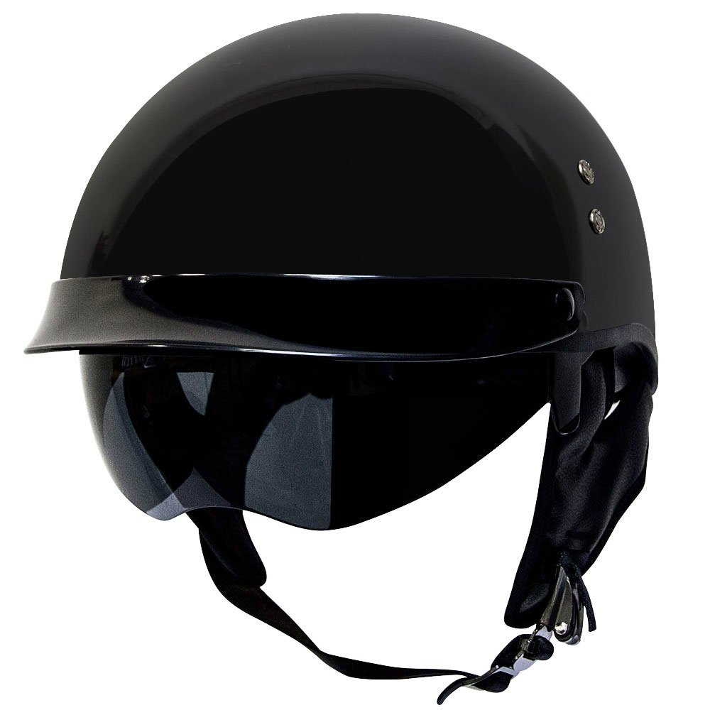 Voss 888 FRP Hand Laid Fiberglass DOT Half Helmet with Retractable Shield for Cruiser Street Bike Men and Women