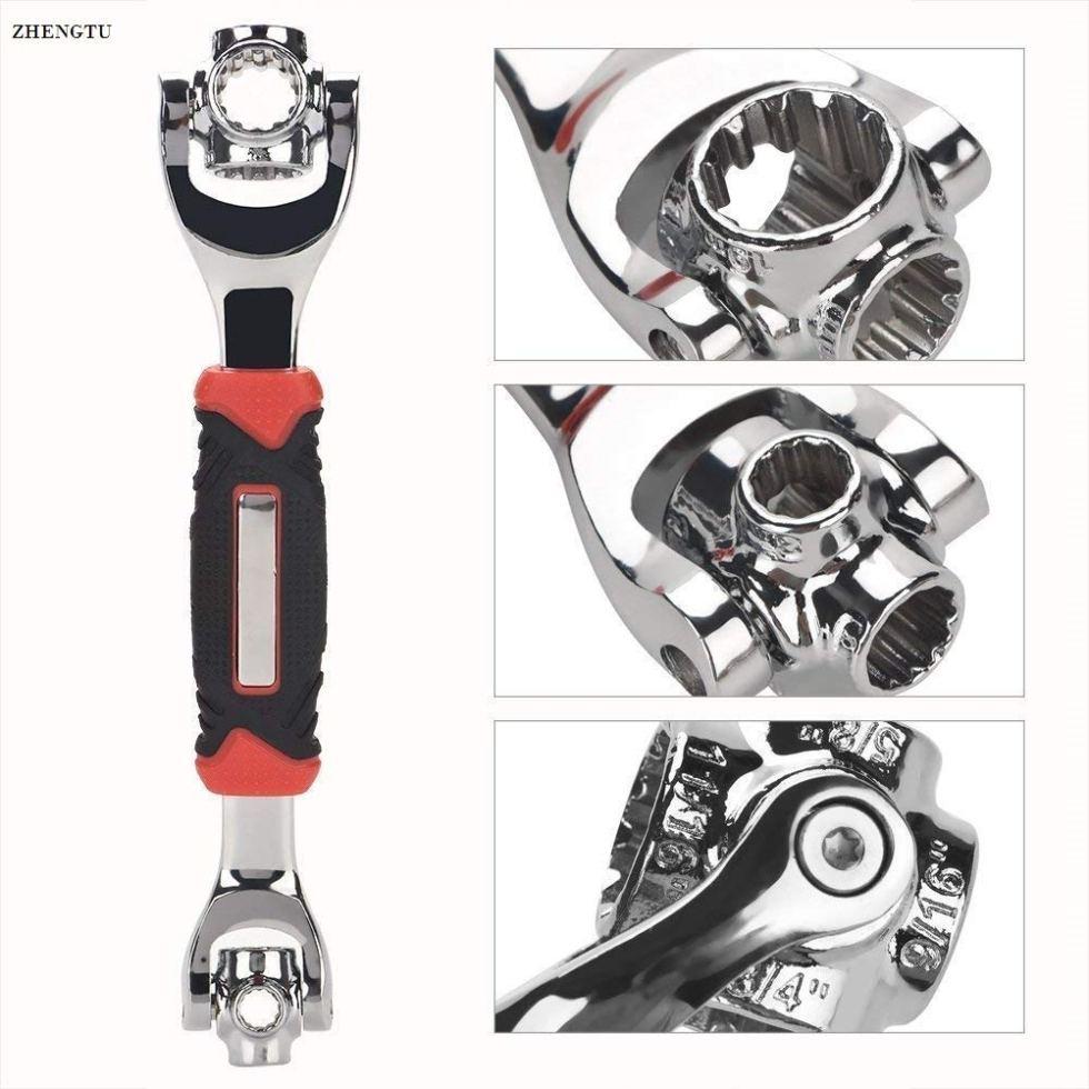ZHENGTU 48 in1 Spanner Socket Wrench Multifunction Universal Tool kit (Silver)