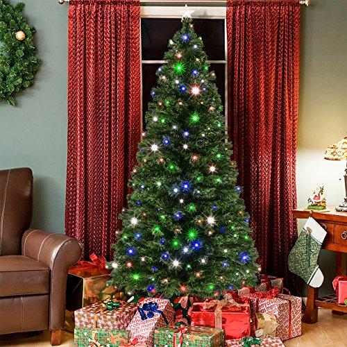 7ft Pre-Lit Fiber Optic Artificial Christmas Pine Tree