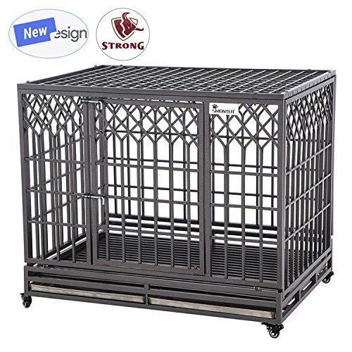 SMONTER 46' Heavy Duty Dog Crate Strong Metal Pet Kennel Playpen with Two Prevent Escape Lock, Large Dogs Cage with Wheels, Y Shape, Dark Silver ...