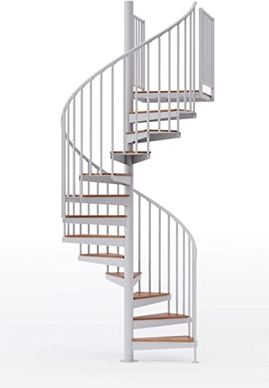 Mylen Condor 60 D Steel Spiral Stairway Kit With Red Oak Wood | Flexible Handrail For Spiral Staircase | Staircase Ideas | Stair Kit | Loft Stairs | Stair Parts | Modern Staircase