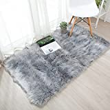 OJIA Deluxe Soft Faux Sheepskin Shaggy Area Floor Rugs Children Play Carpet for Living & Bedroom Sofa (2 x 3ft, Grey)