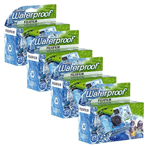 Fujifilm Quick Snap Waterproof 35mm Single Use Camera, 4 Pack (Blue/Green/White)