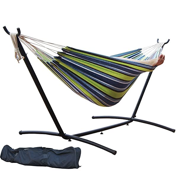 Prime Garden 9' Double Hammock with Space Saving Steel Hammock Stand