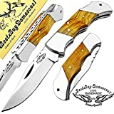 Best.Buy.Damascus1 Olive Wood Custom 5.5'' Handmade Double Bloster Stainless Steel Folding Pocket Knife with Back Lock 100% Prime Quality Come with Leather Sheath