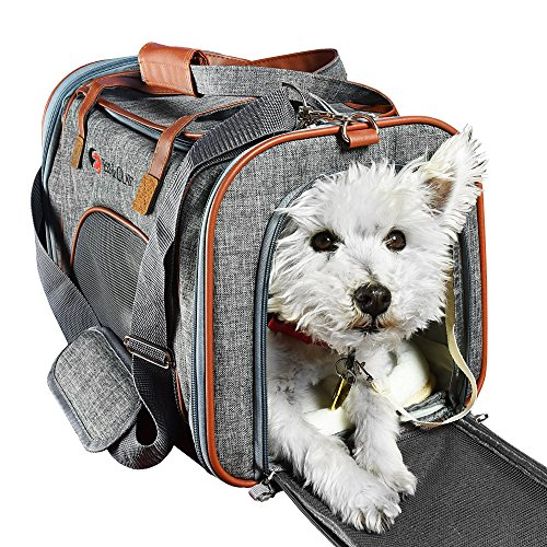 Ess and Craft Pet Carrier Airline Approved | Side Loaded Travel Bag with Sturdy Bottom & Fleece Cushion | Ventilated Pouch with Faux Leather Top Handle & Zipper Locks | for Dogs, Cats, Small Pets 1