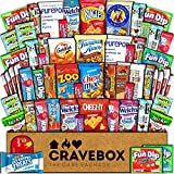 CraveBox Care Package (60 Count) Snacks Cookies Bars Chips Candy Ultimate Variety Gift Box Pack Assortment Basket Bundle Mixed Bulk Sampler Treats College Students Office Fall Semester Back to School